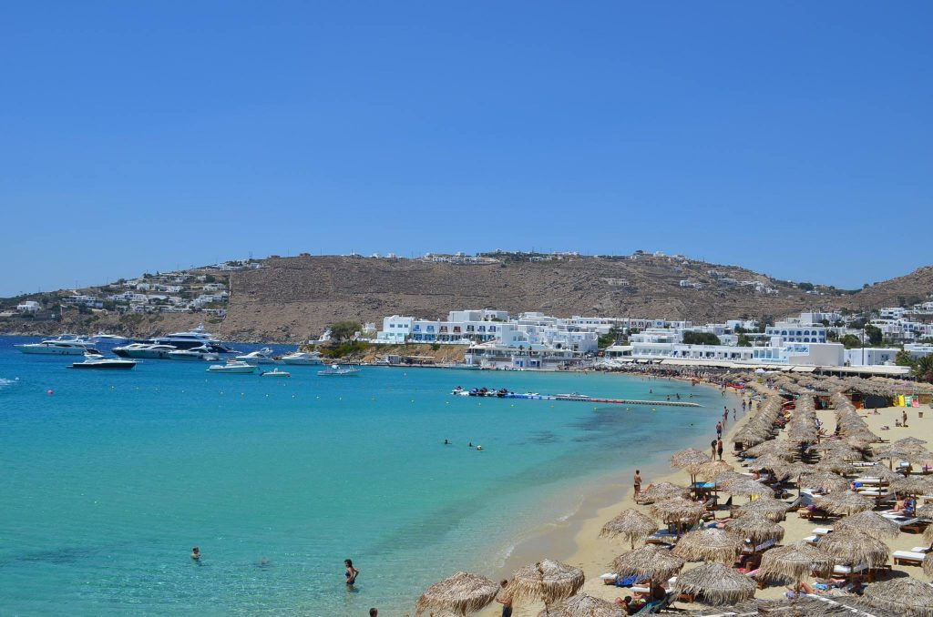 Best Island Beaches For Partying Mykonos St Barts: Platis Gialos Beach In Mykonos Island, Greece