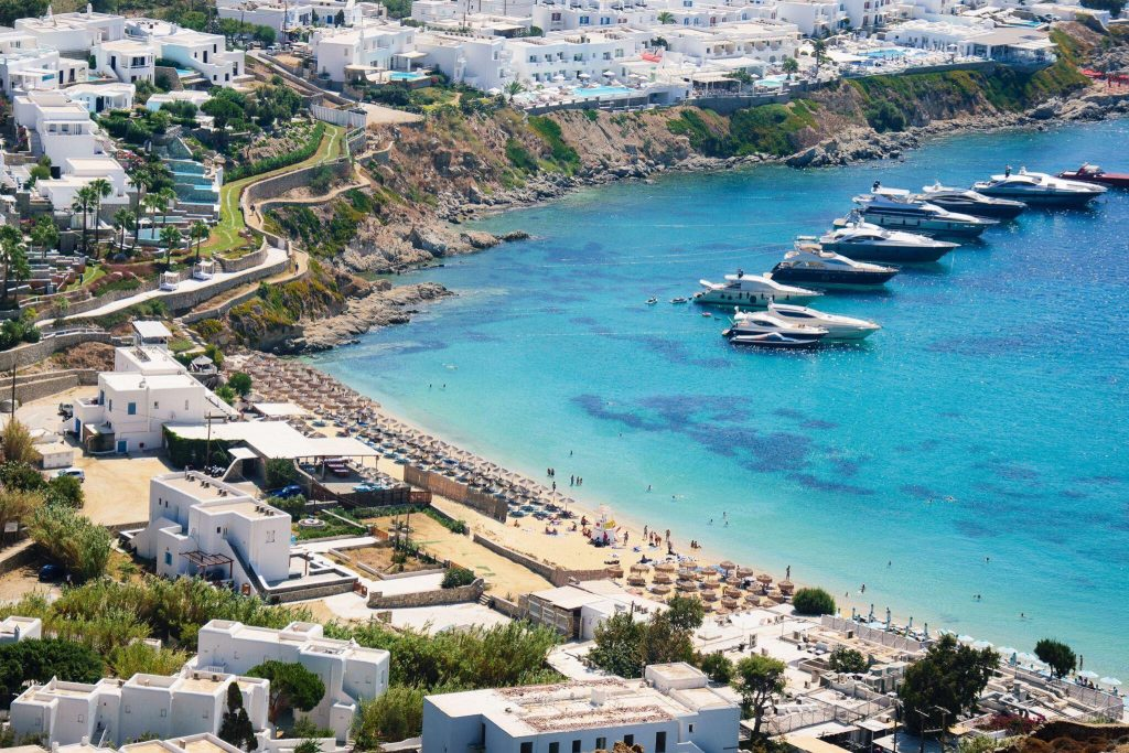 Best Island Beaches For Partying Mykonos St Barts: Psarou Beach In Mykonos Island, Greece
