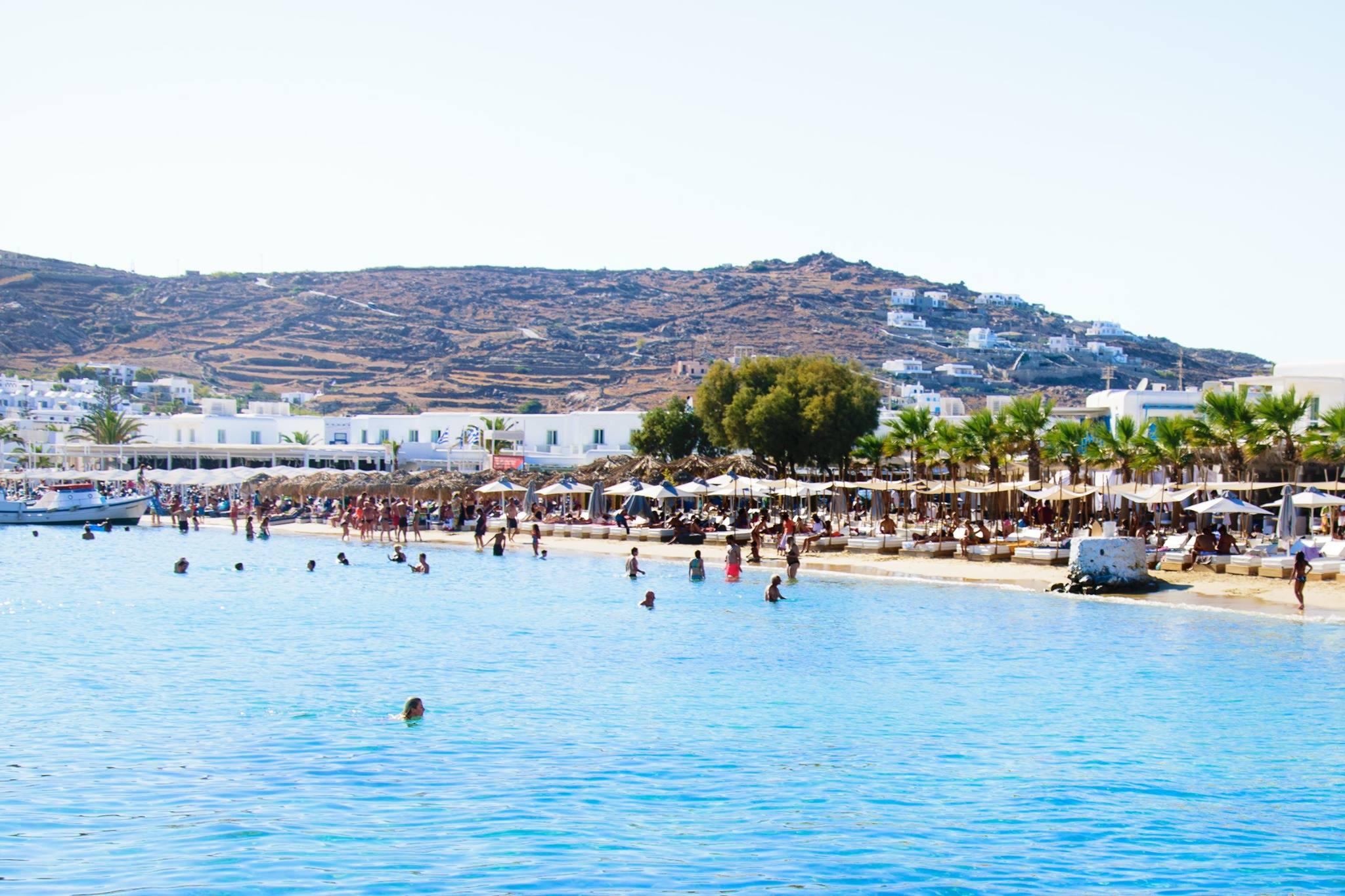 Ornos Beach In Mykonos Island Greece